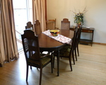 Dining room with sliding doors to deck